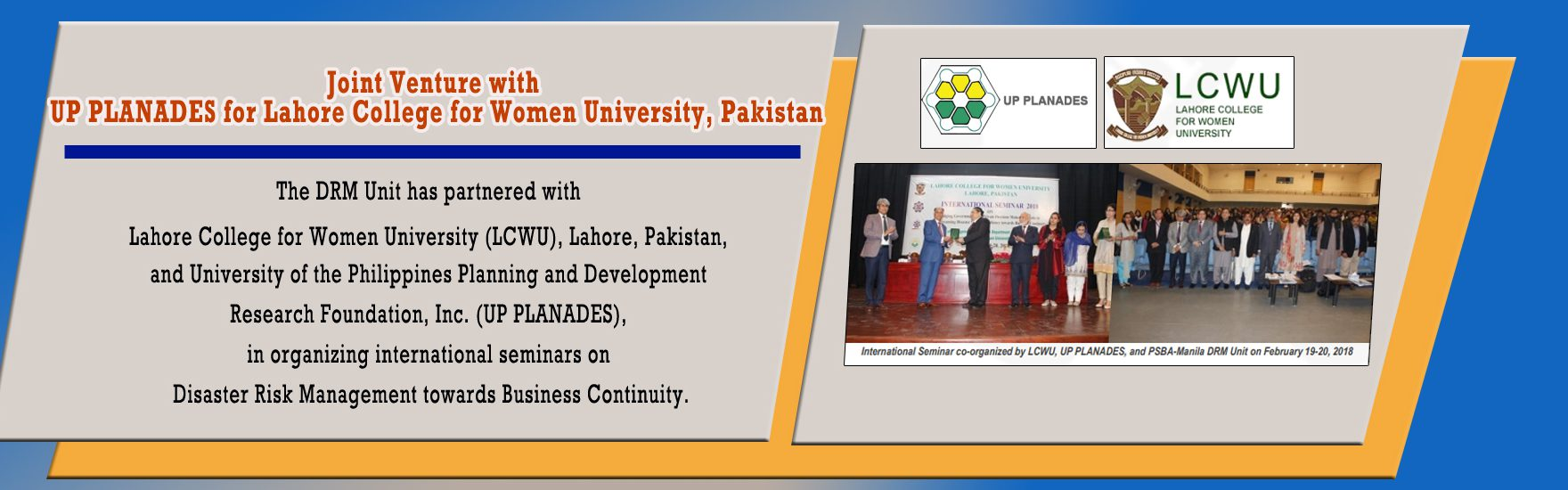 Joint Venture with UP PLANADES for Lahore College for Women University, Pakistan
