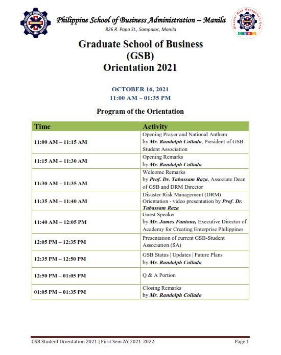 Program of the Orientation